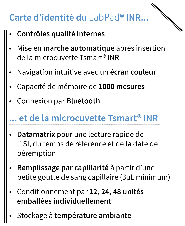 Carte d'identité de l'appareil de mesure INR LabPad®