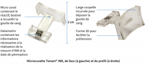 Détails de la microcuvette Tsmart® pour l'appareil de mesure INR LabPad®
